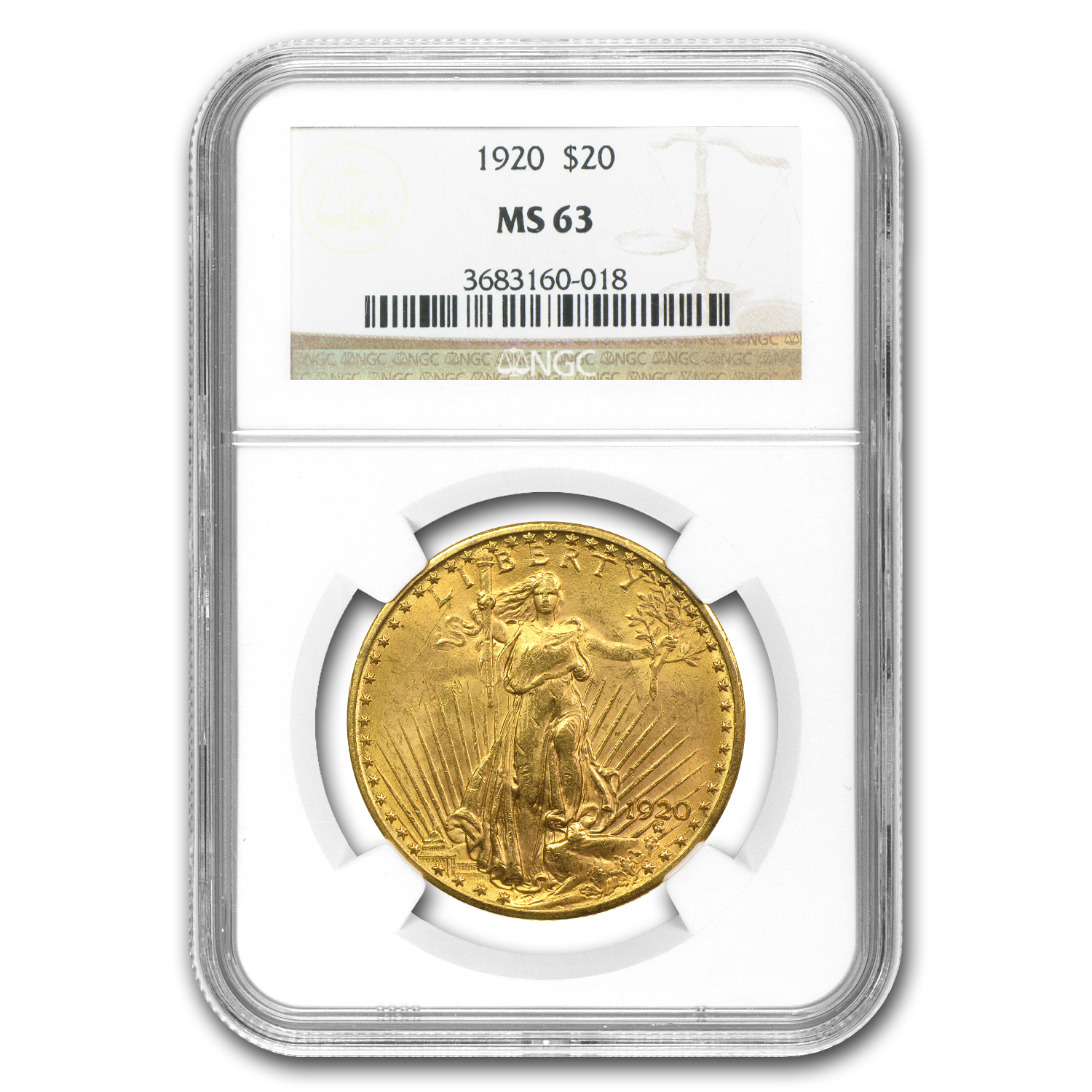 1920 $20 St. Gaudens Gold Double Eagle - MS-63 NGC