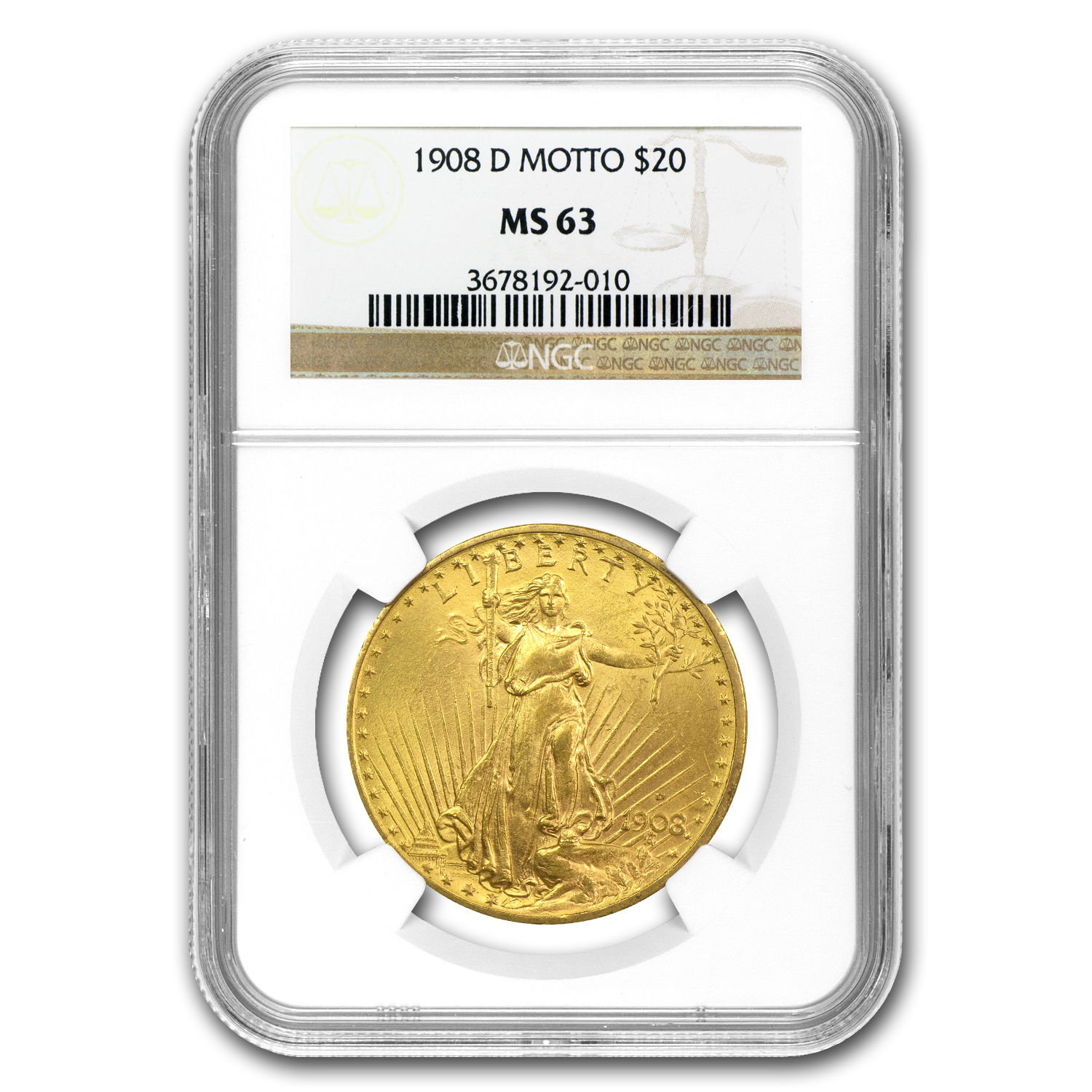 1908-D $20 St. Gaudens Gold w/Motto MS-63 NGC
