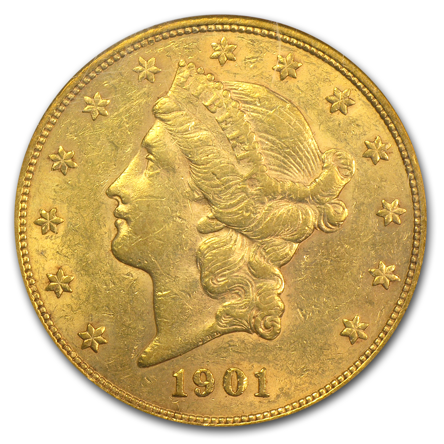 1901 $20 Gold Liberty Double Eagle AU-50 PCGS