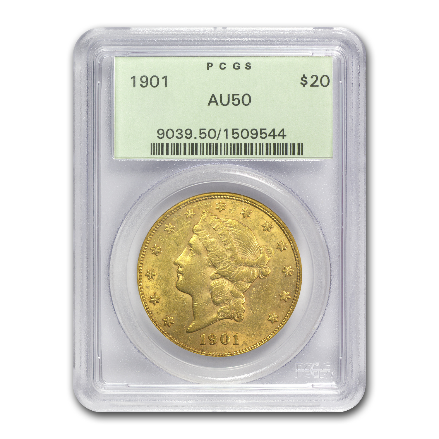 1901 $20 Liberty Gold Double Eagle AU-50 PCGS
