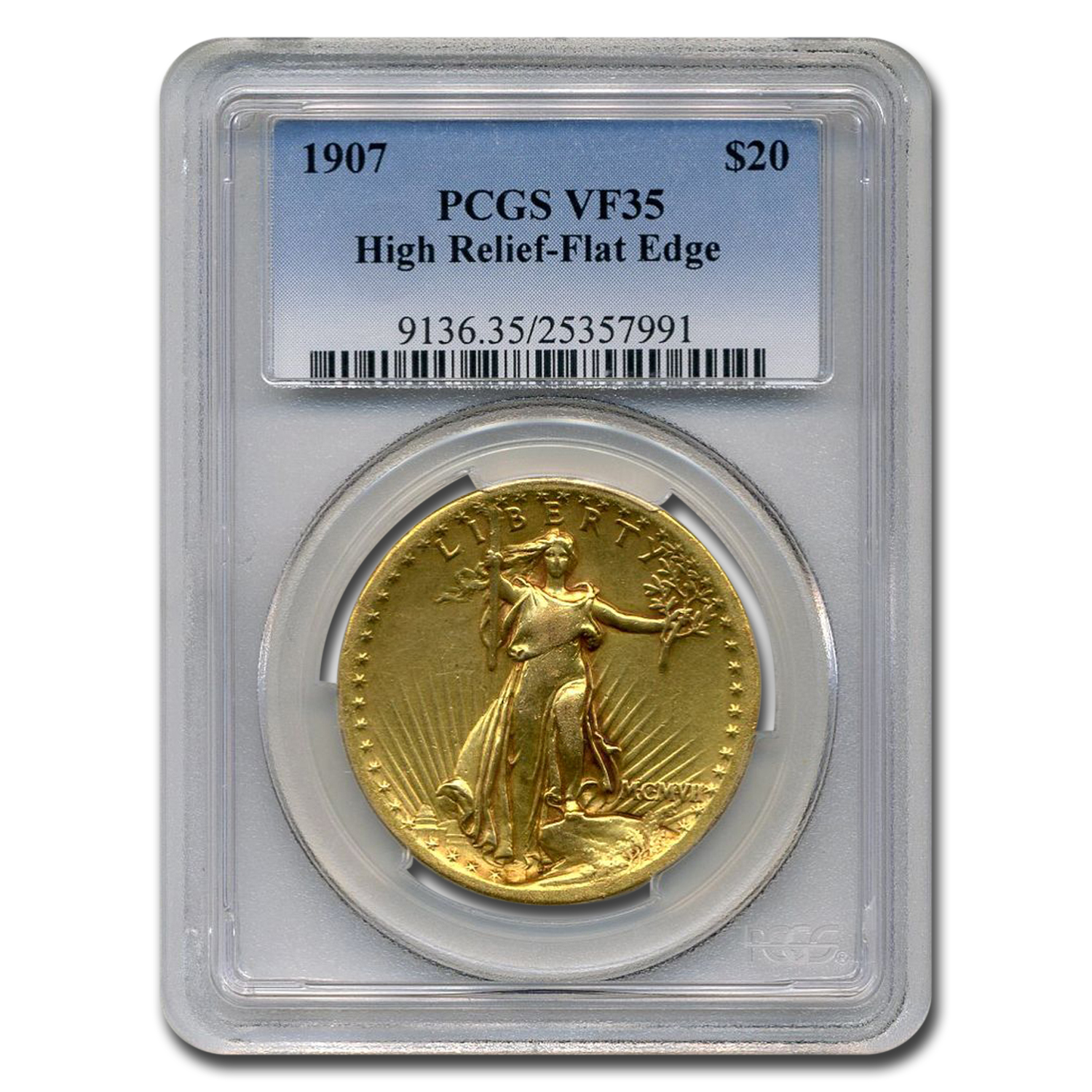 1907 $20 Saint-Gaudens Gold High Relief Flat Rim VF-35 PCGS