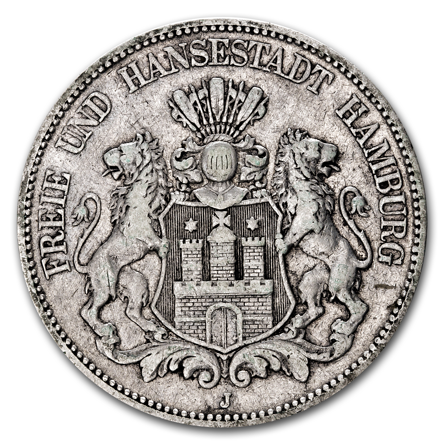 19th Century Germany 5 Marks Hamburg (ASW .8037)