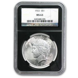 1922-1925 Peace Dollars MS-63 NGC (25th Anniv Holder)