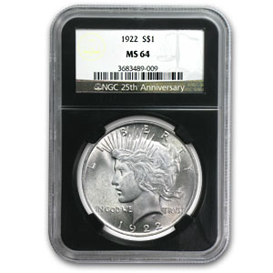 1922-1925 Peace Dollars MS-64 NGC (25th Anniv Holder)