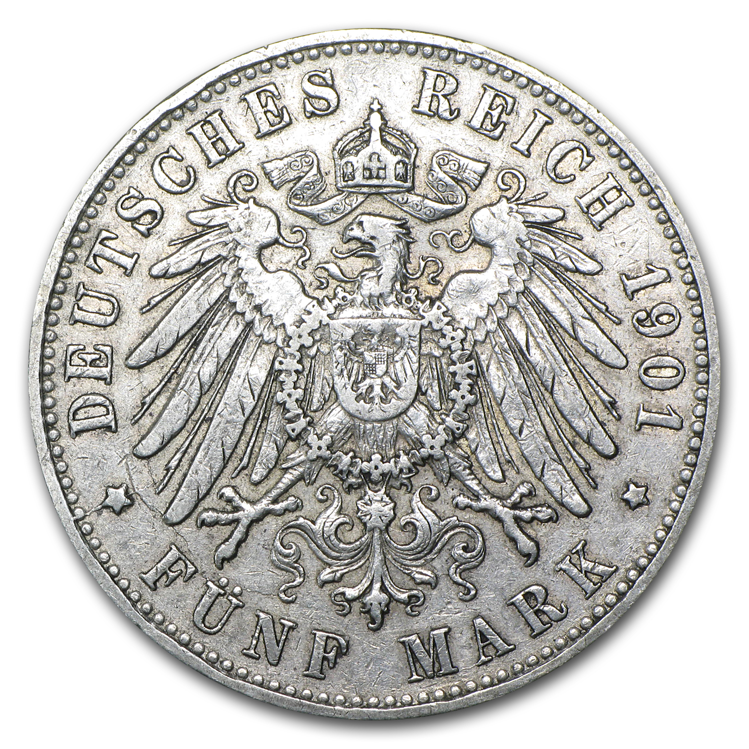 1891-1913 Germany 5 Marks Hamburg Avg Circ (ASW .8037)