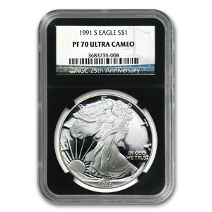 1991-S Proof Silver American Eagle PF-70 NGC (Retro Black Insert)