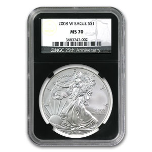 2008-W Burnished Silver American Eagle MS-70 NGC (Black Insert)