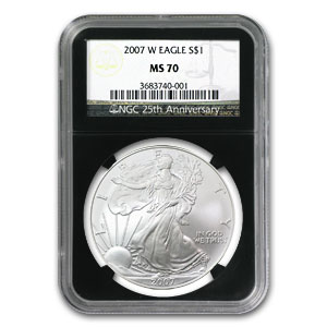 2007-W Burnished Silver American Eagle MS-70 NGC (Black Insert)