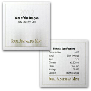 2012 Australia 5 oz Silver Year of the Dragon Proof-like