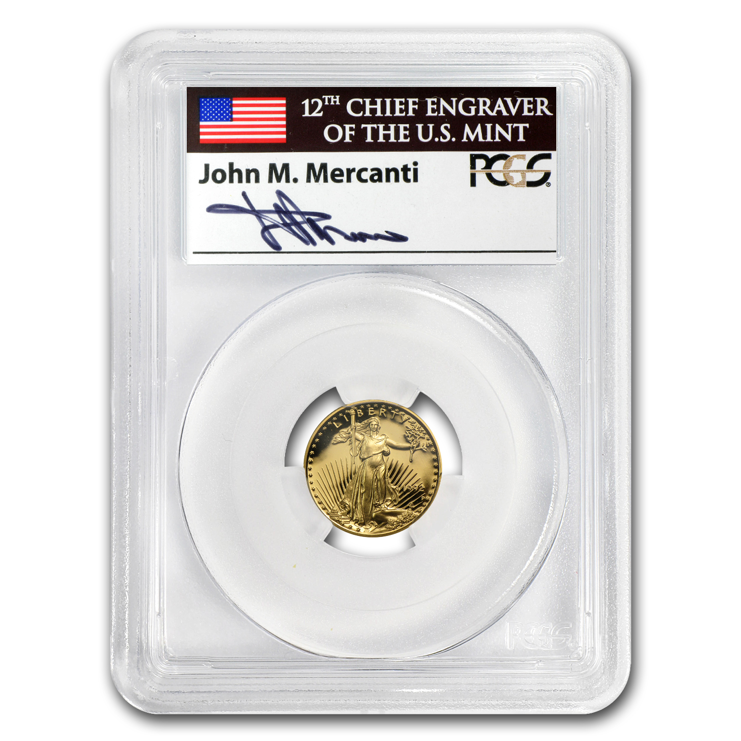 1992-P 1/10 oz Proof Gold American Eagle PR-70 PCGS John Mercanti