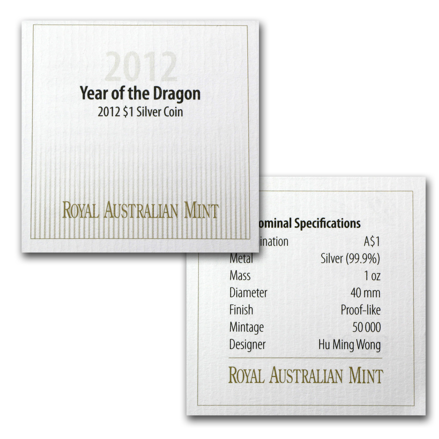 Royal Australian Mint 2012 Year of the Dragon 1 oz Silver Coin