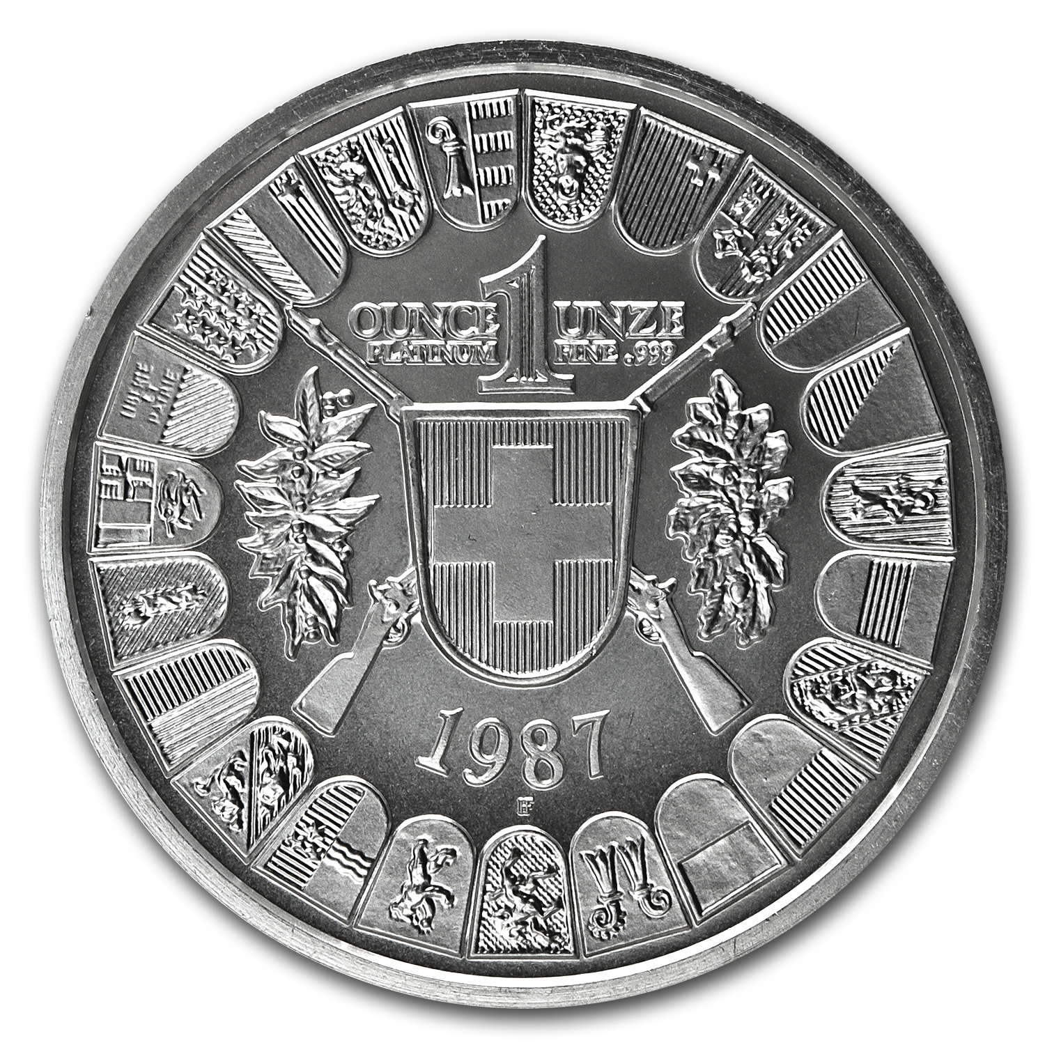 1987 1 oz Swiss Platinum Shooting Thaler Proof