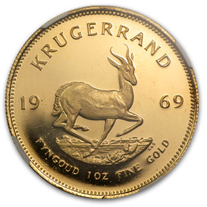 1969 1 oz Gold South African Krugerrand PF-65 UCAM NGC