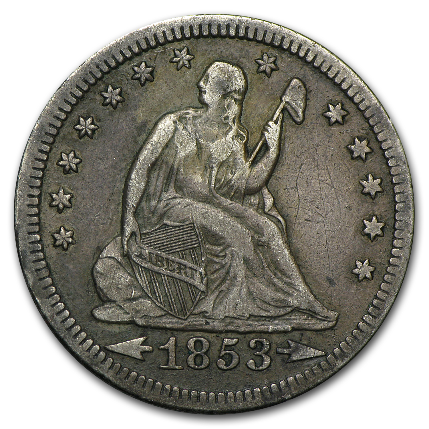 1853 Liberty Seated Quarter w/Arrows & Rays XF
