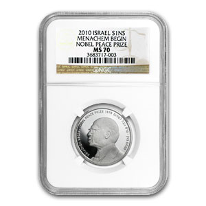 2010 Israel Silver 1 NIS Menachem Begin MS-70 NGC