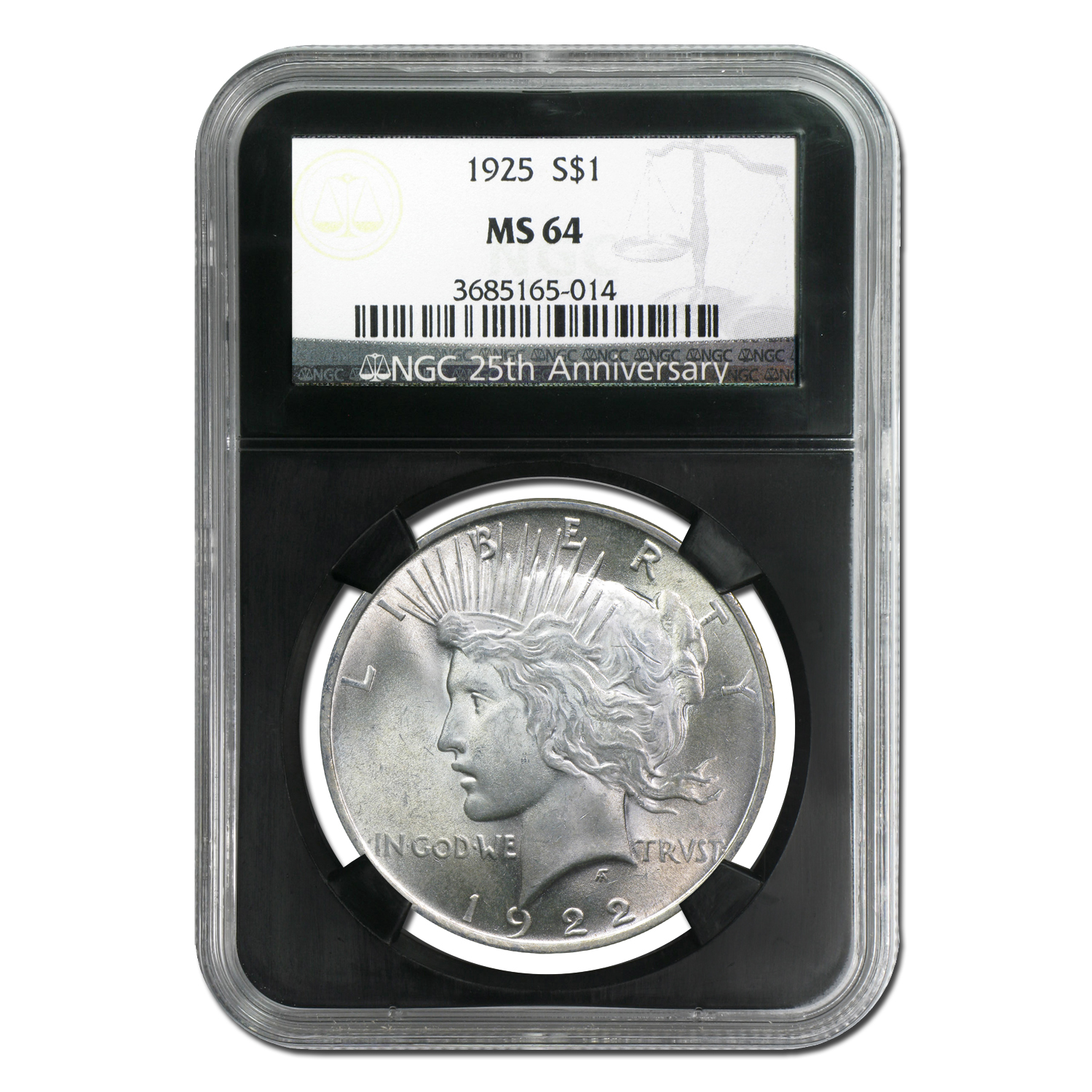 1922-1925 4-Coin Peace Dollar Set MS-64 NGC (25th Anniv)