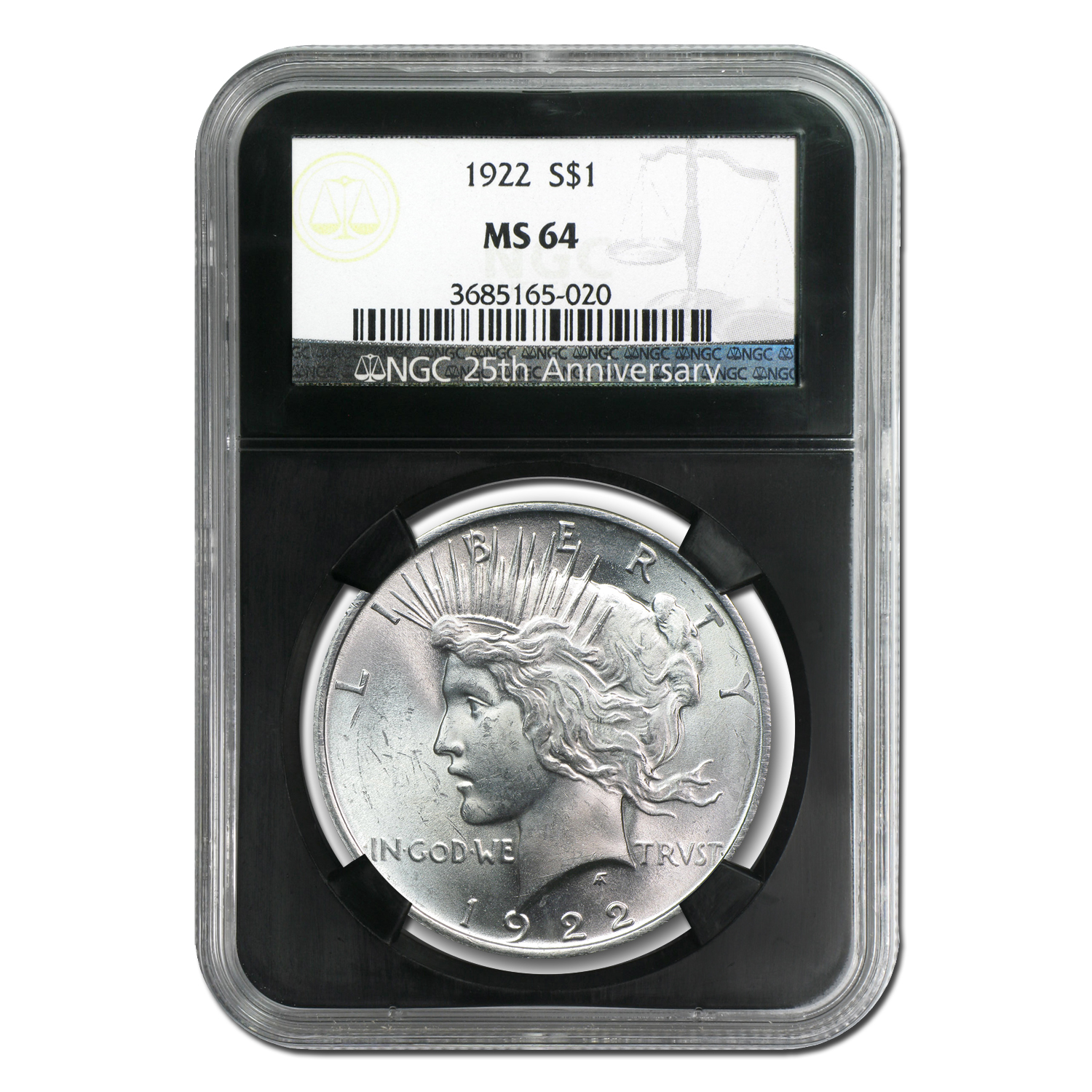 1922-1925 Peace Silver Dollar Set 4 Coins MS-64 NGC Black Holders