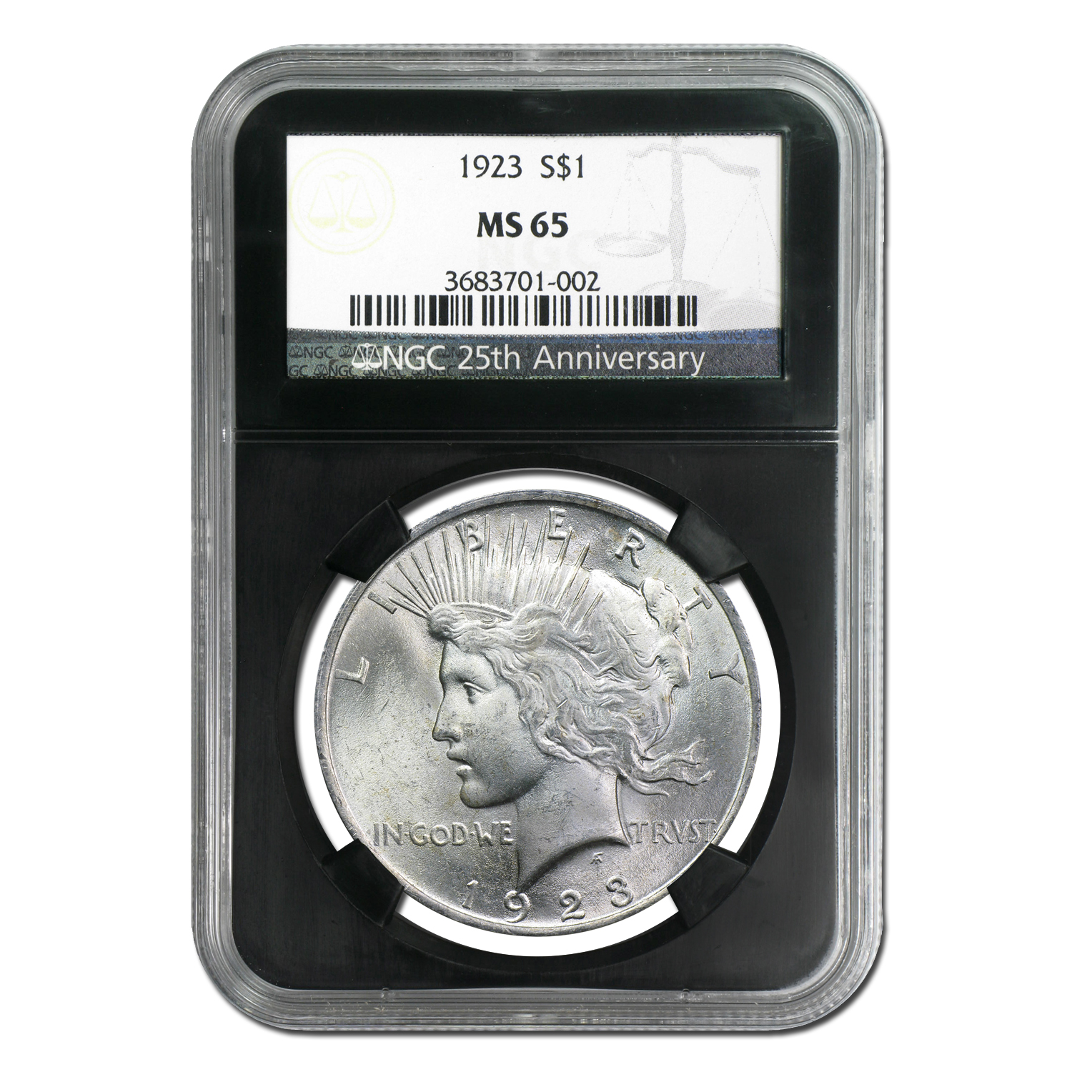 1922-1925 Peace Dollars - MS-65 NGC Black Holder - 25th Ann