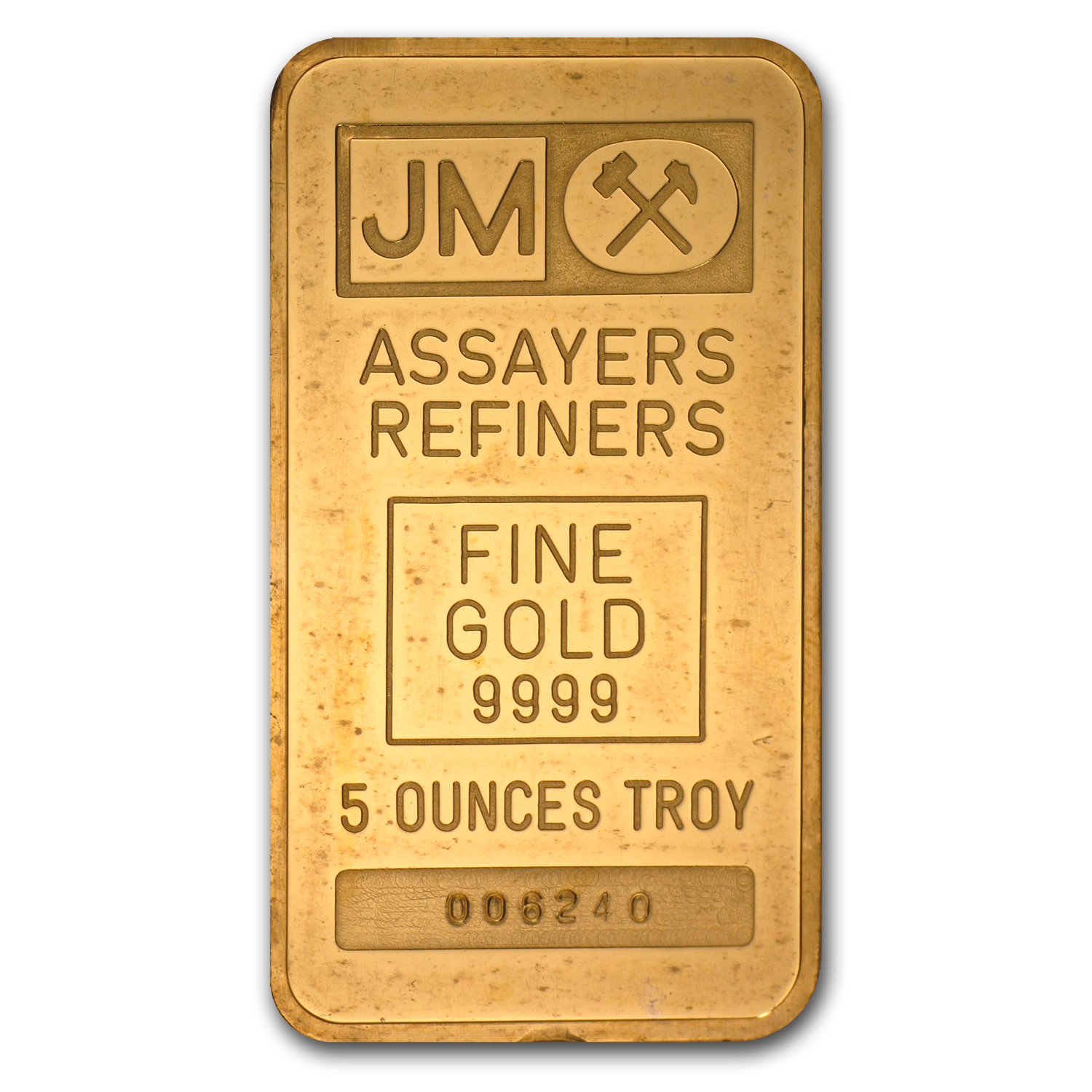5 oz Gold Bars - Johnson Matthey (Plain Back)