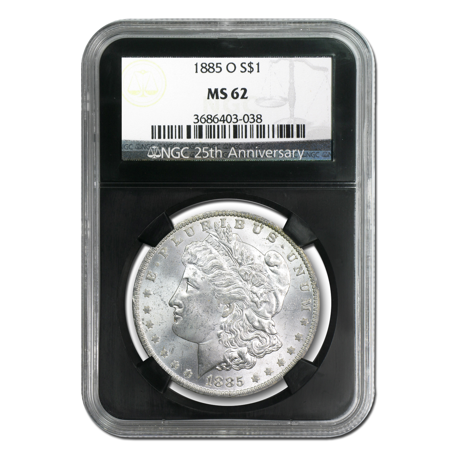 1878-1904 Morgan Dollars MS-62 NGC (25th Anniversary Holder)