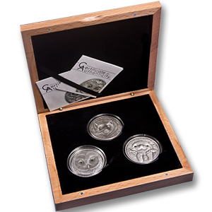 Mongolia Endangered -Gulo Gulo + Ural Owl + Hedgehog - 3 Coin Set