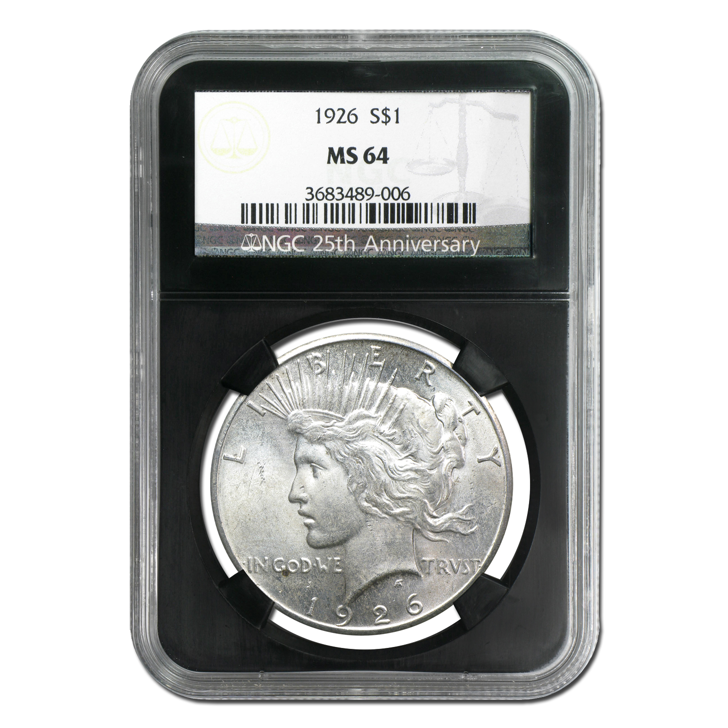 1926 Peace Dollar MS-64 NGC - Black Holder - 25th Anniversary