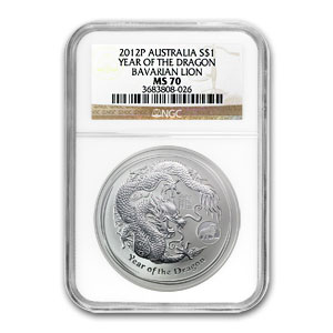2012 1 oz Silver Australian Dragon MS-70 NGC (Lion Privy)