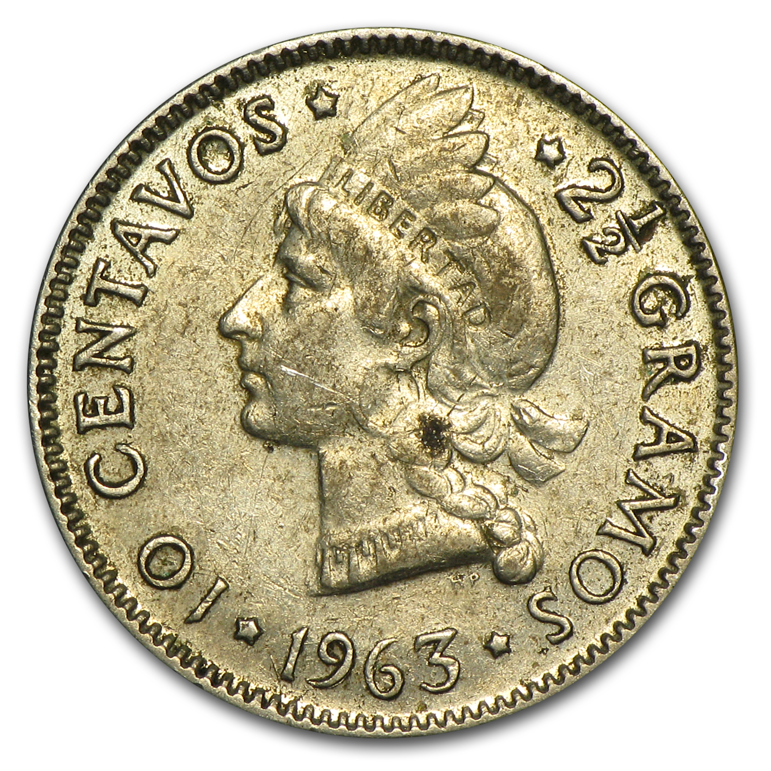 1963 Dominican Republic 10 Centavos Avg Circ