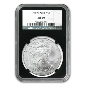 2007 Silver American Eagle MS-70 NGC (Retro Black Insert)