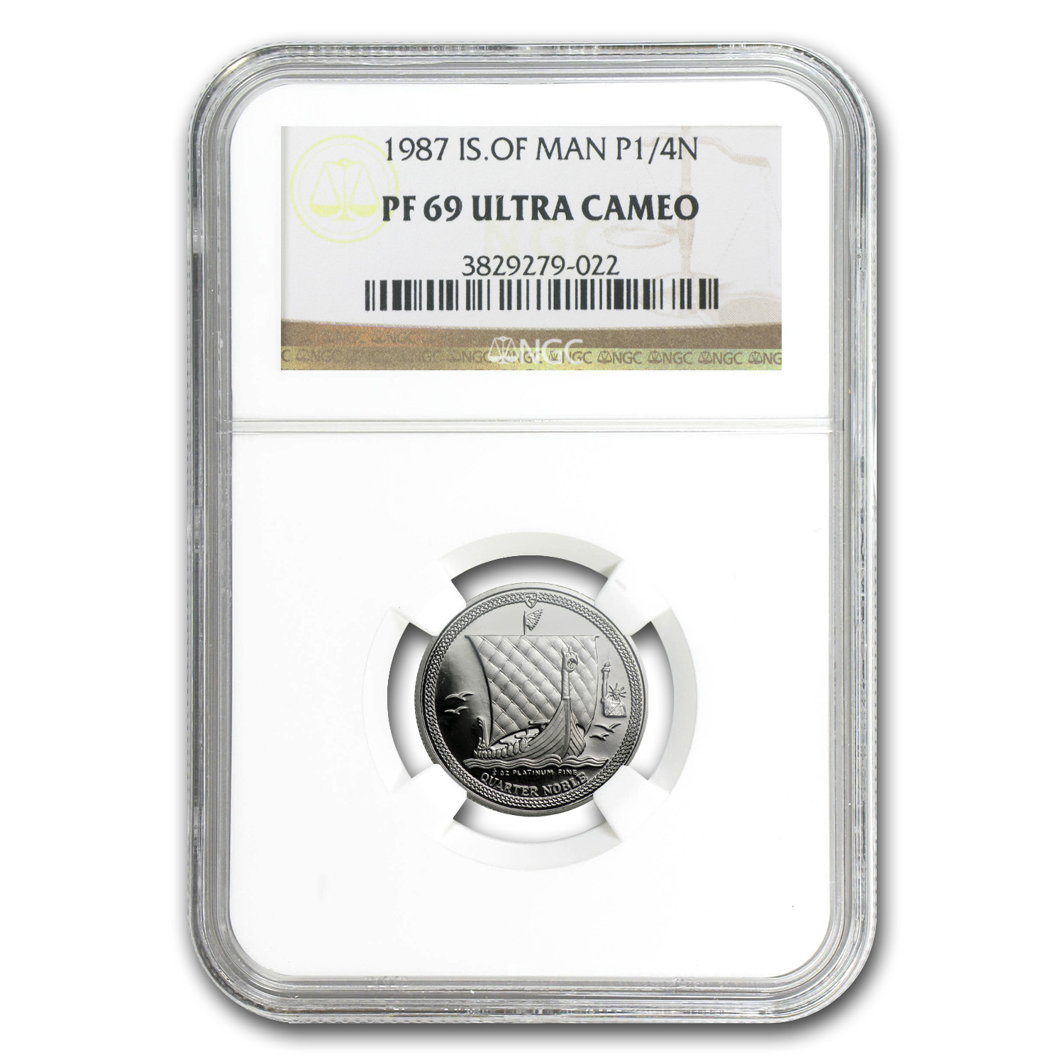 1987 1/4 oz Isle of Man Platinum Noble PF-69 UCAM NGC