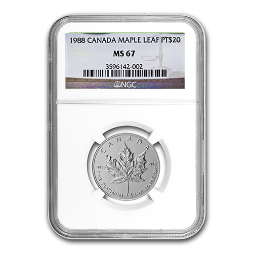 1988 1/2 oz Canadian Platinum Maple Leaf MS-67 NGC
