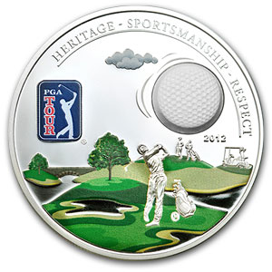 2012 Cook Islands Proof Silver $5 PGA Tour Golf Ball