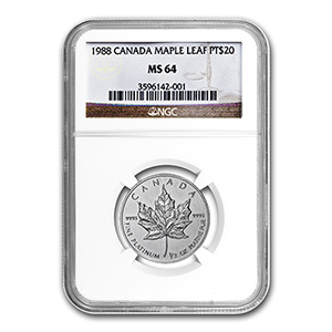1988 1/2 oz Canadian Platinum Maple Leaf MS-64 NGC