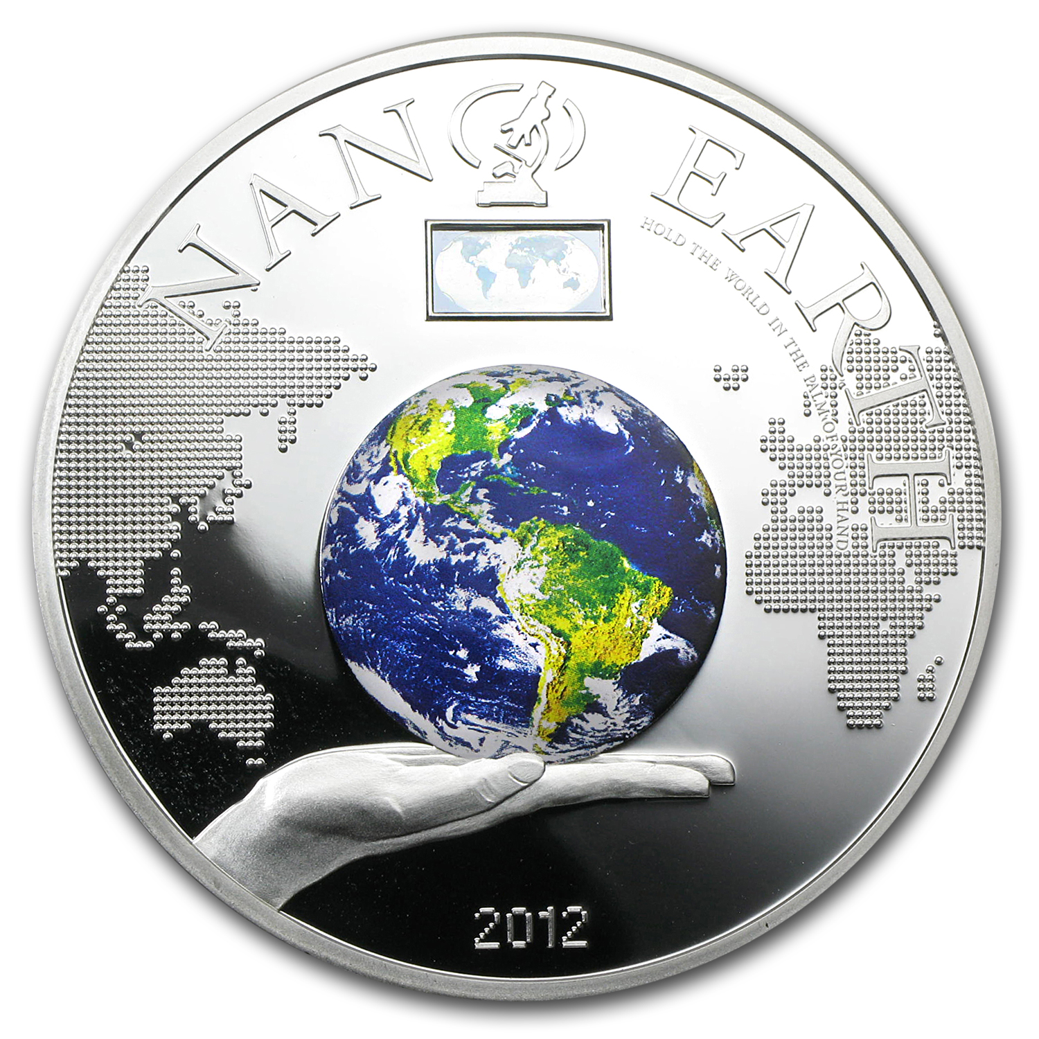 Cook Islands 2012 Silver $10 Nano Earth - The World in Your Hand