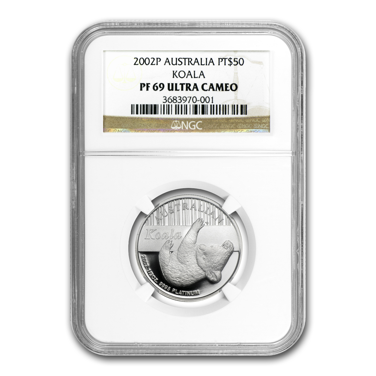 2002 Australia 1/2 oz Proof Platinum Koala PF-69 NGC
