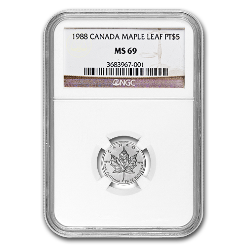 1988 1/10 oz Canadian Platinum Maple Leaf (MS-69 NGC)