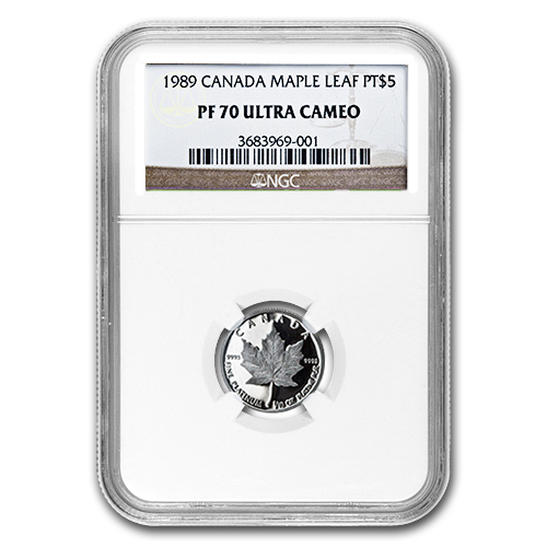 1989 1/10 oz Canadian Platinum Maple Leaf (PF-70 UCAM NGC)