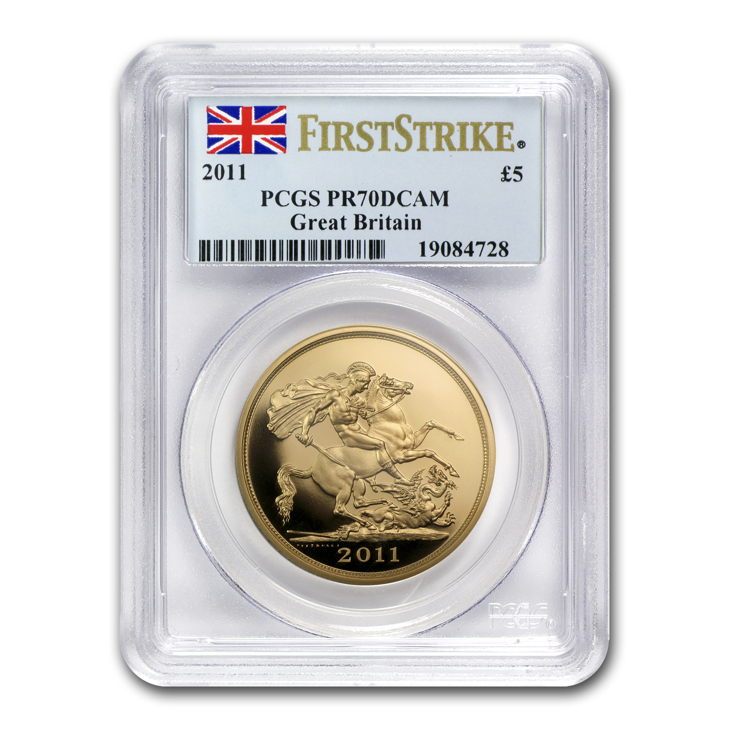 2011 Great Britain Gold £5 PR-70 PCGS (1st Strike)