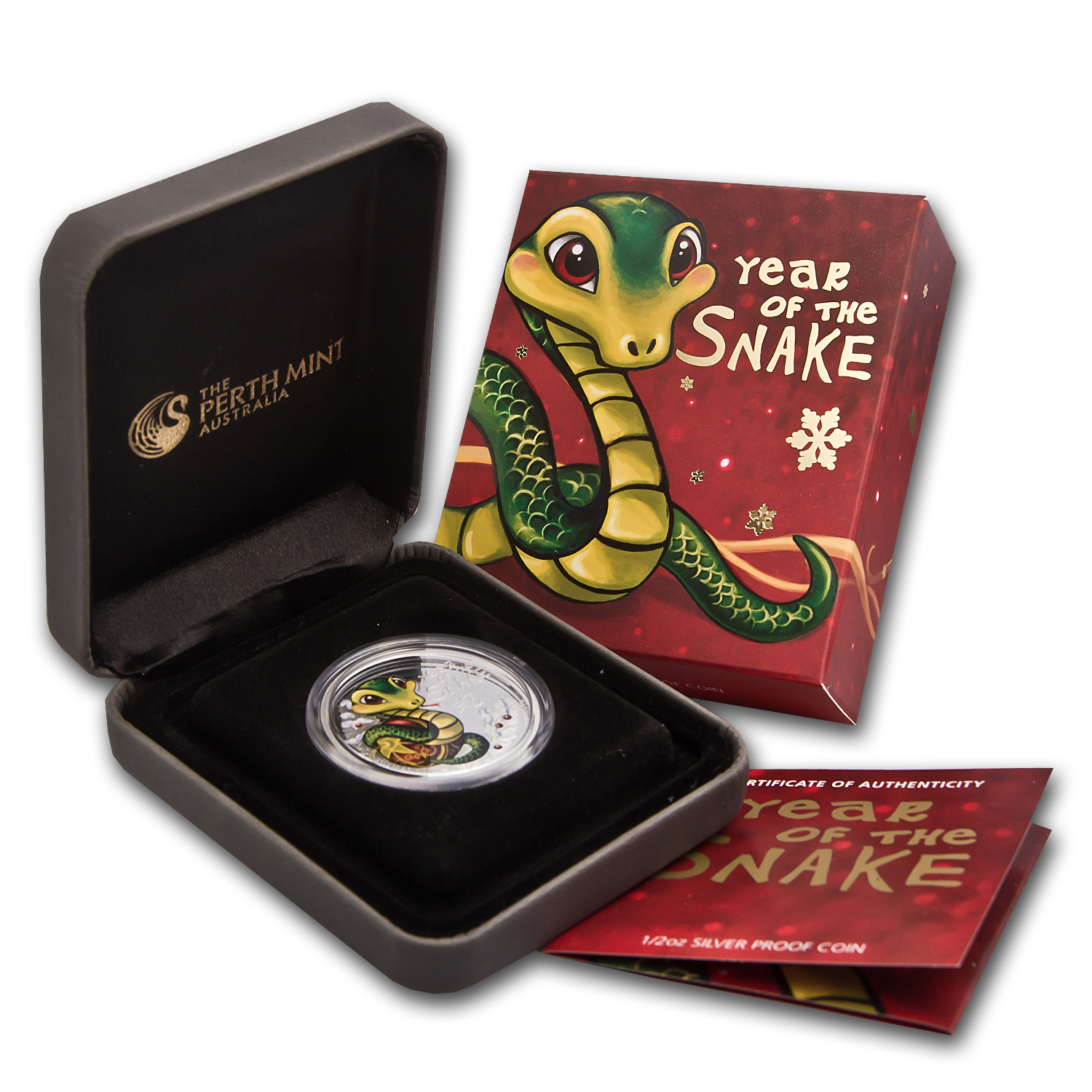 2013 1/2 oz Silver Tuvalu Baby Snake Proof (Colorized)