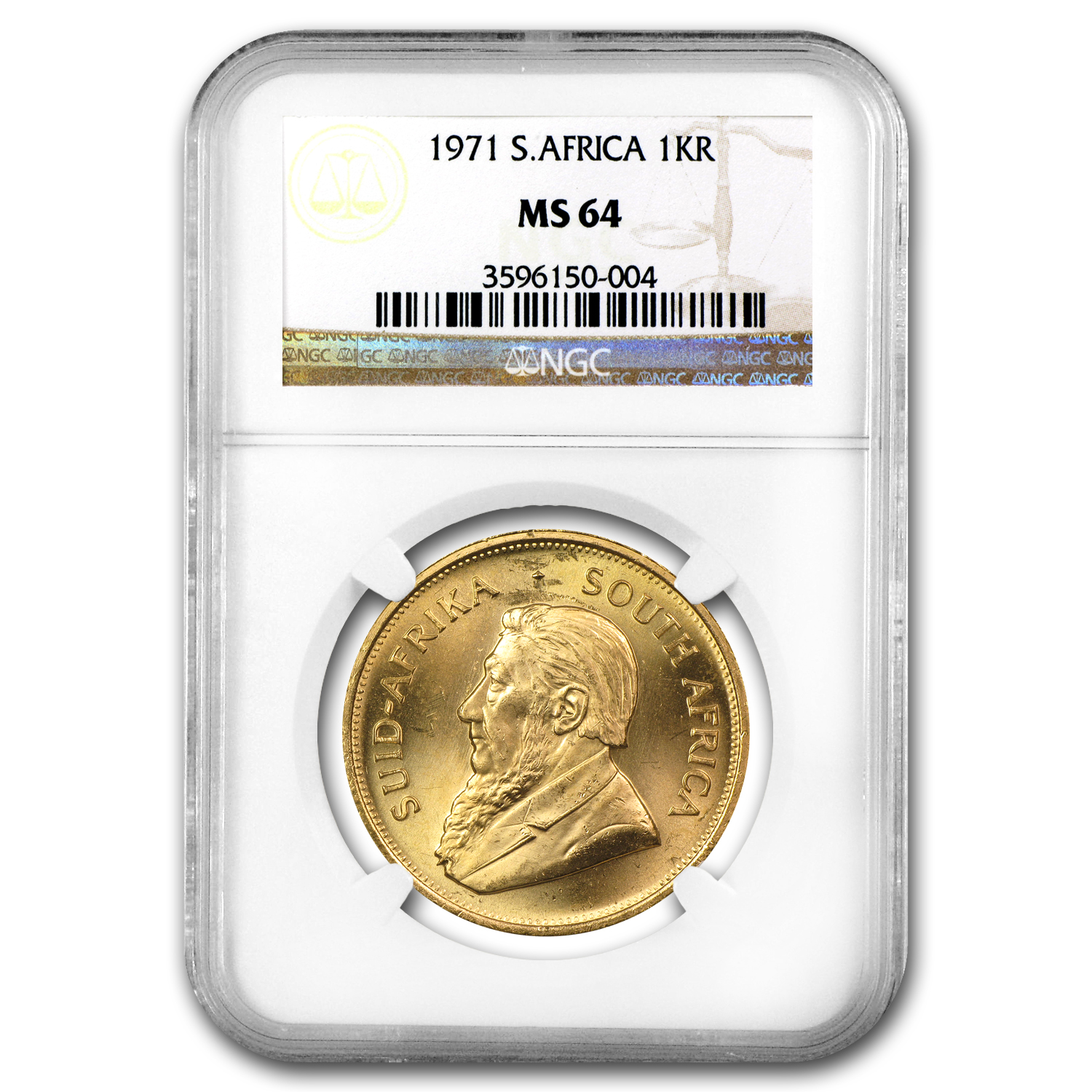 1971 1 oz Gold South African Krugerrand MS-64 NGC