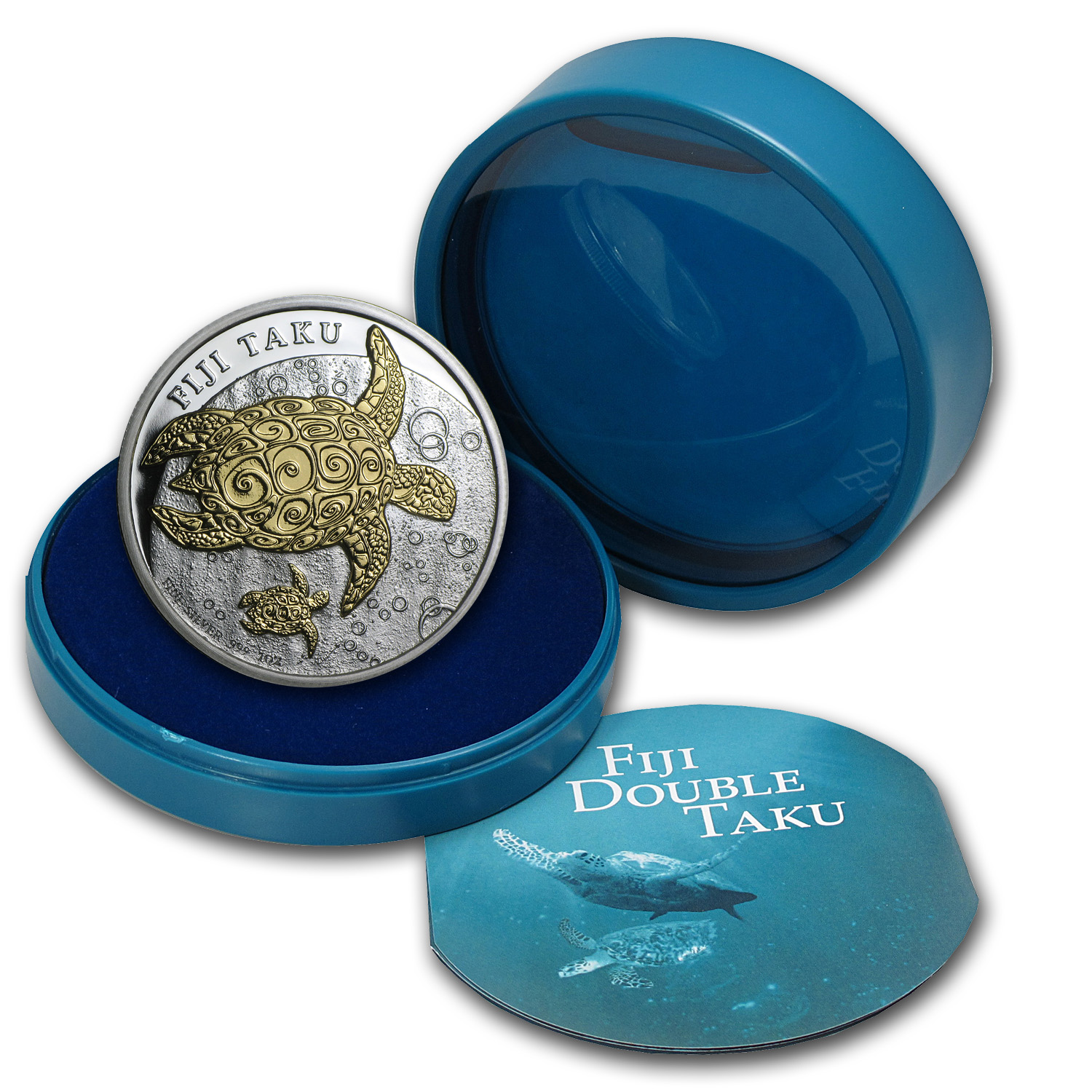 2012 Fiji 1 oz Silver $2 Taku & Baby Proof (Gilded, In Water Box)