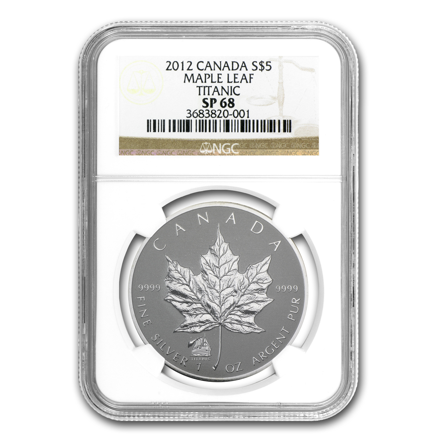 2012 Canada 1 oz Silver Maple Leaf Titanic Privy SP-68 NGC