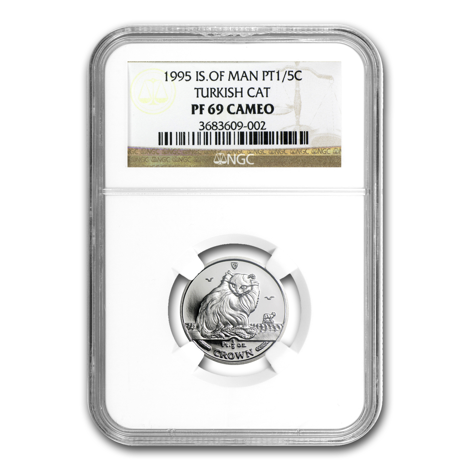 1995 1/5 oz Isle of Man Platinum Cat PF-69 NGC