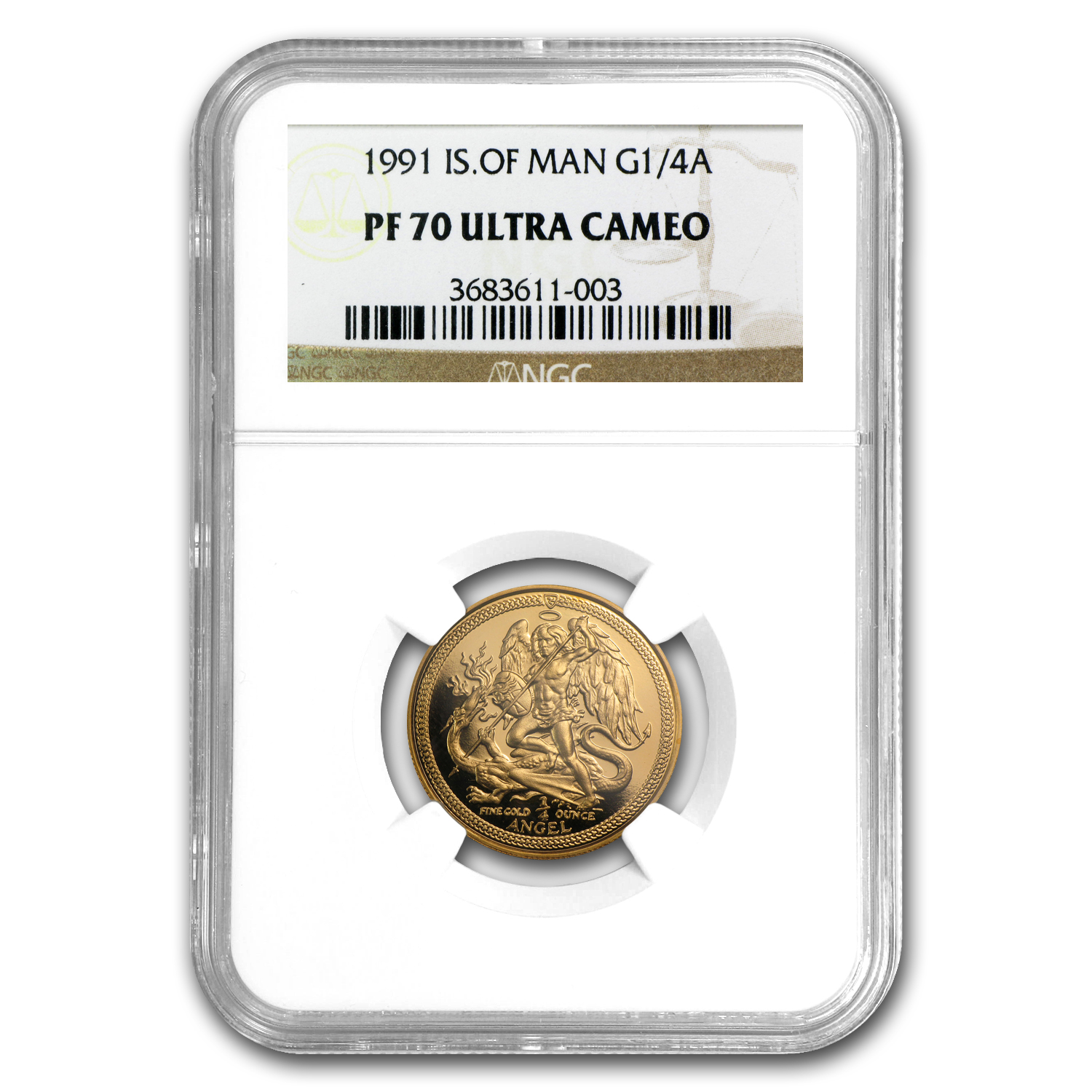 Isle of Man 1991 1/4 oz Gold Angel - PF-70 UCAM NGC