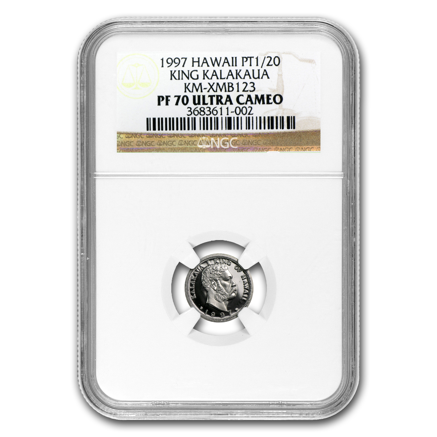 1997 1/20 oz Hawaiian Platinum King (PF-70 UCAM NGC)