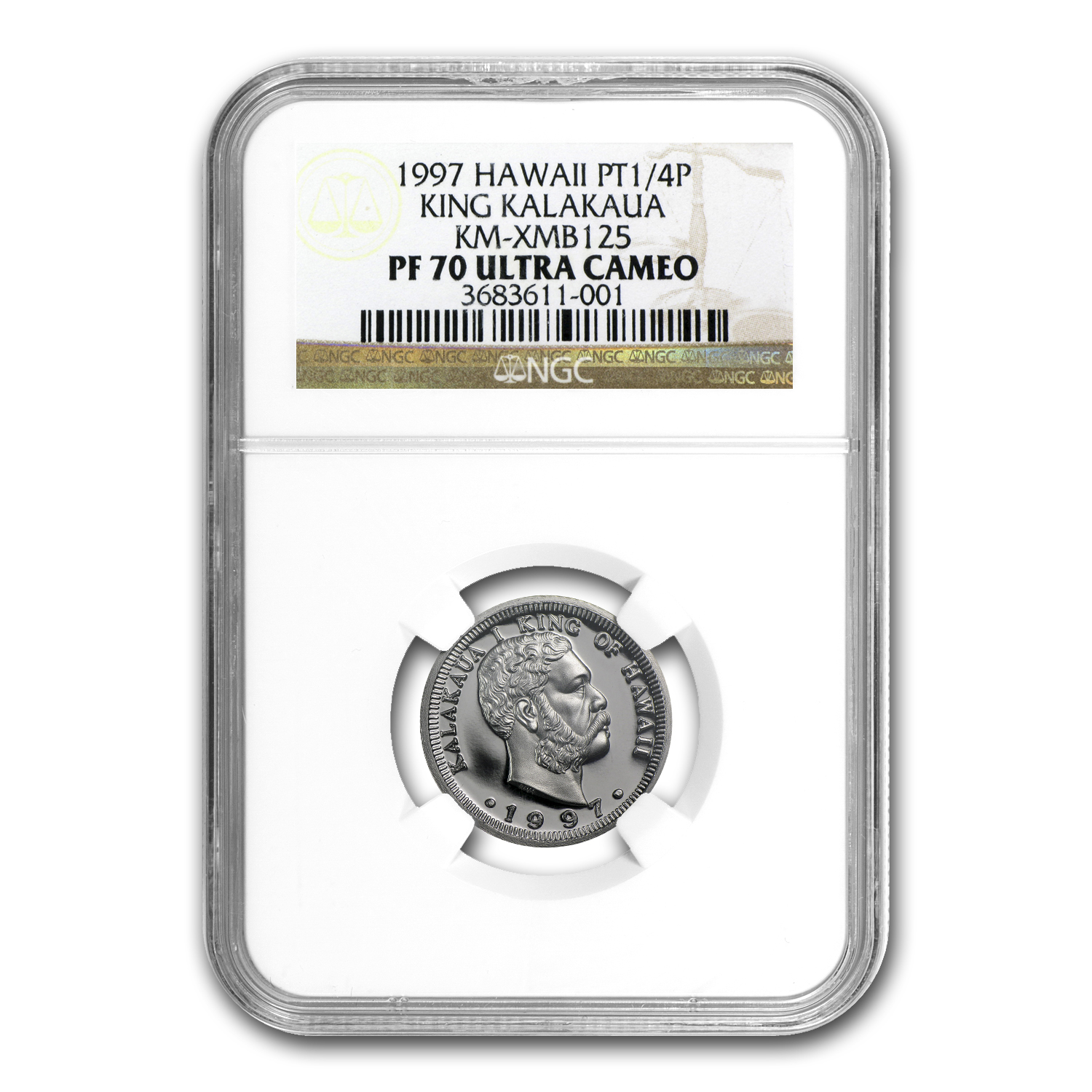 1997 1/4 oz Proof Platinum Hawaiian King PF-70 NGC