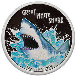 2007 Tuvalu 1 oz Silver Great White Shark PR-69 PCGS