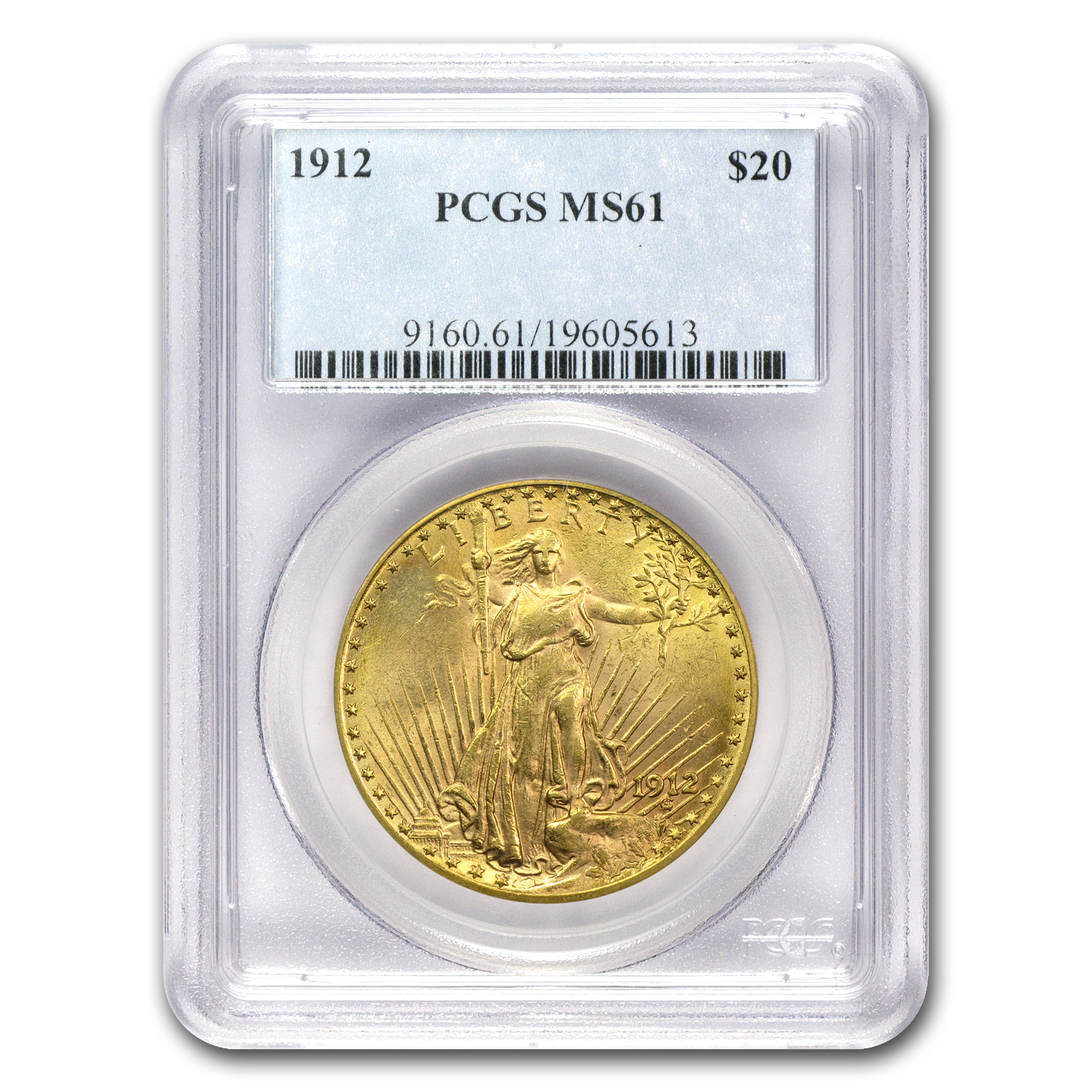 1912 $20 St. Gaudens Gold Double Eagle MS-61 PCGS