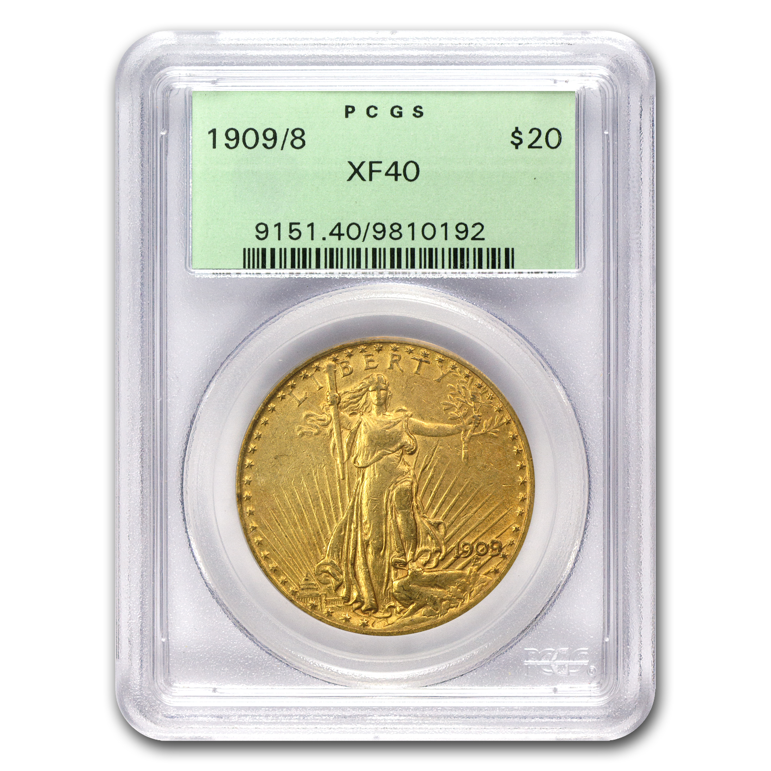 1909/8 $20 St. Gaudens Gold Double Eagle Overdate XF-40 PCGS