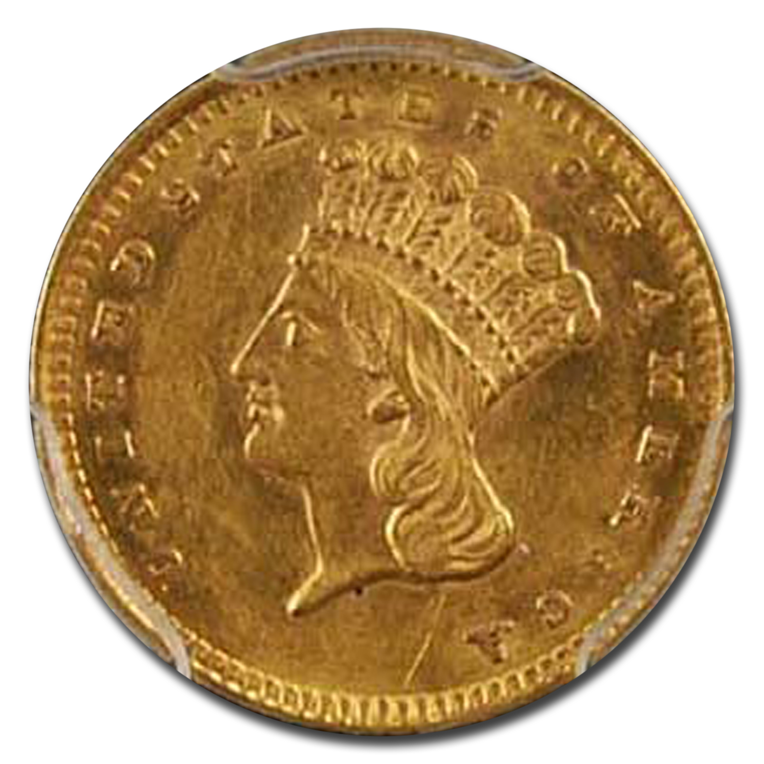 1857 $1 Indian Head Gold - AU-58 PCGS
